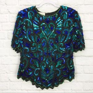 Laurence Kazar Silk Sequin Beaded Vintage Top XL